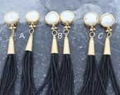 pearl tassel earrings black afghan beads beaded tassels earring gold plated bezel post stud  freshwater pearls