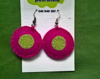 pink/green felted earrings