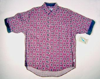 Vintage 1990s Half Sleeve LIGHTNING BOLT Brand Purple Button Up Shirt Size L