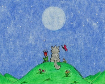 Wolf Cub Moon Luv Collection Greeting Cards - Note Cards. Includes White Envelopes. Blank Inside.