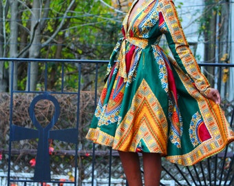 High Low Green Dashiki Wrap Jacket/Dress
