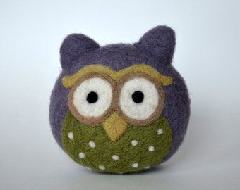 NEEDLE FELTED OWL/ Small gray and green owl / Made in Maine by Caryn Burwood of Purple Moose Felting