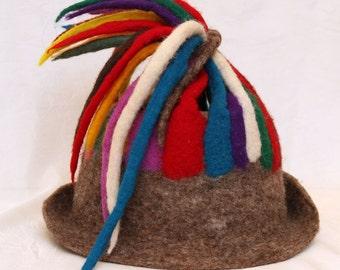 Women Hat Hand Felted Merino Wool : Multicolour Hat