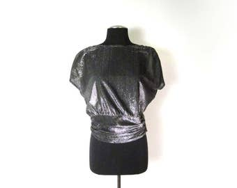 1980s does 1940s Silver Shiny Sheer Boat Neck Short Sleeve Top - Zipper Closure - Size 9