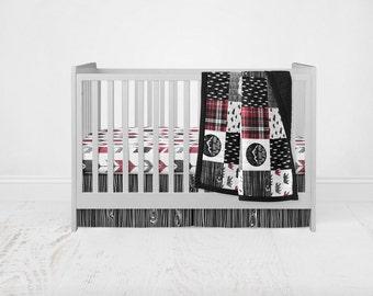 Wilder's Crib Bedding Set - Woodland Adventure Black, Grey, & Red Patchwork Wholecloth Crib Quilt Stag Deer Bear Fitted Sheet Crib Skirt