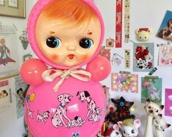 Cute vintage Pink Roly Poly Doll from Japan
