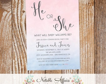 Pink and Blue Watercolor Ombre Gender Neutral Gender Reveal Invitation - He or She Gender Reveal Invitation - Boy or Girl Gender Reveal