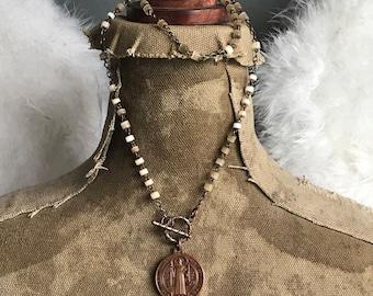 Vintage St. Benedict feldspar rosary assemblage necklace by Alpha Female Studio OOAK