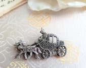 SALE - 25% OFF Vintage Marcasite Brooch - Horse and Carriage Brooch - Horse Brooch - Marcasite Brooch - Marcasite Jewellery - Gift for Her -