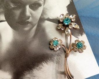 SALE - 25% OFF Vintage Flower Brooch - Vintage Brooch - Rhinestone Brooch - Vintage Blue Brooch - Aquamarine - Something Blue - 1950s Brooch