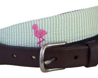Pink Flamingo Leather Belt / Leather Belt / Seersucker Belt / Preppy Webbing Belt Men, Women and Children/Pink Flamingo on Green Seersucker