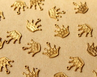 3 pc. Raw Brass Five Point Crown Charms: 15mm by 14mm - made in USA - RB-1037