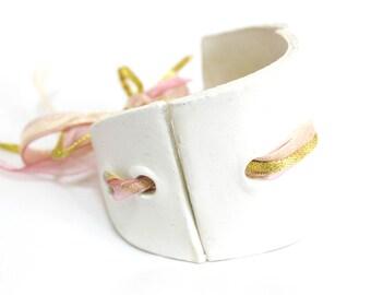 Ceramic white bangle bracelet, personalized bracelet, hand painted bohemian bracelet, oversized bracelet, chunky bangle, coctail jewellery