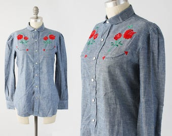 Vintage Ralph Lauren Western Shirt - 70s RARE Designer Chambray Blue Pearl Snap Blouse - Embroidered Rockabilly Top - Size Medium 8