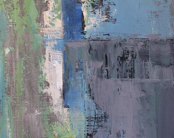 """Original Abstract Oil Painting,  """"Kitchen"""" , 12""""x9"""", by  artist John Kelley"""