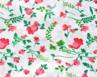 Vintage Small Print Pink Floral Cotton Fabric, Flower Quilting Sewing Fabric, 1 3/4 yard