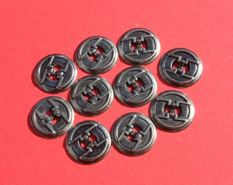 Vintage Round Metal Buttons, Retro Mod 7/8 Inch Craft Jewelry, Lot of Buttons