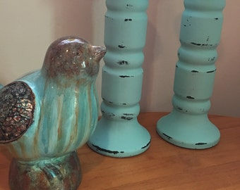 Distressed Turquoise Blue Pillar Candle holders, Candle stick holders, [C]