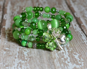 Green Lucky 4 Leaf Clover Charm Bracelet Memory Wire Greenery Multistrand Stacked Wrap Gifts for St Patricks Day Irish Her Birthday BJGB78