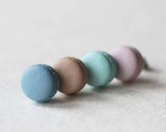PANTONE 2017 Macarons Stud Earrings - Small Ear Studs - Earrings Post - Food Jewelry