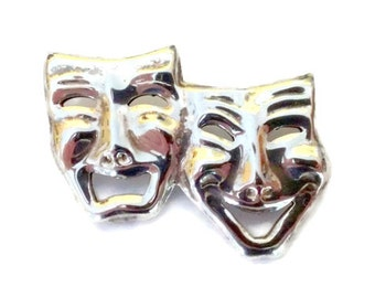 Vintage Comedy and Tragedy Sterling Silver Brooch / Pin