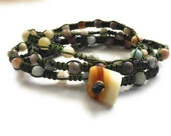 Macrame Bracelet, Knotted Bracelet, Wrap Bracelet, Choker, Necklace, Serpentine Beads, Flower Jade Button