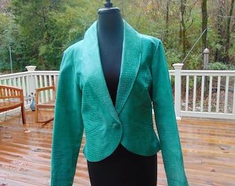 Vintage 1980's Green Leather Crop Jacket, METROSTYLE, Size 12
