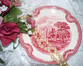 """Johnson Brothers - """"Old British Castles"""" - Saucer - Red & White - Transferware"""