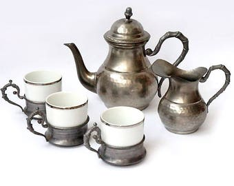 Vintage Pewter Coffee Pot Set with Creamer and 3 Cups,Italian Coffee Pot Serving Set,Espresso Serving Set,retrò tableware