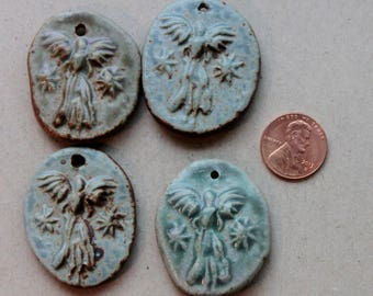 Lot of 4 Clay Pendants with Guardian Angel, great for crafter or as a gift