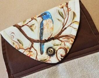 Bluebird Hanging Kitchen Towel, Button Top Dish Towel, Housewarming Gift, Nature, Oven Door Towel, Spring Kitchen Linens, Birdwatcher gifts