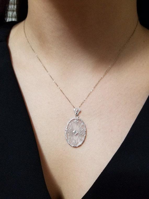 1920's Vintage Filigree Quartz Diamond Pendant