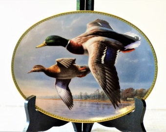 """1995 Jim Hautman """"Mallards On The Wing"""" First Issue/ Bradford Exchange Collectible Plate/Wild Wings"""