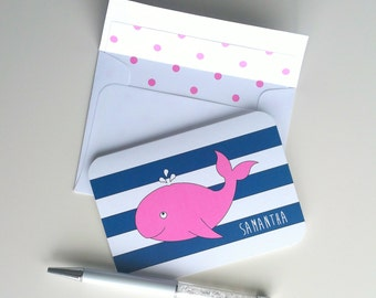 Set 10 Personalized Note Card Set Custom Stationery Set Nautical Whale Card Nautical Card Set Baby Shower Thank You Card Blank Note Card Kid