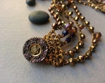 Bronze And Gold Bead Crochet Bracelet, Czech Glass Beads, Gold Plated Beads, Liquid Bronze Faceted, Jet Black Glass, Victorian Button