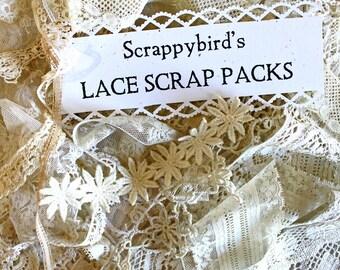 Vintage Lace Scrap Pack*Ecru Lace Grab-Bag*Vintage Lace*Mixed Media Supplies*Fiber Art Supplies*Craft Supplies