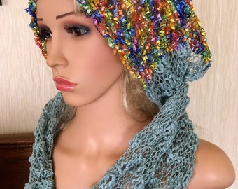 Ooak unique womens designer lace effect hand knit/crocheted ,light green,multicolour cowl,scarf,infinity neckwarmer