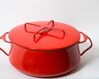 Dansk Pot Kobenstyle Lidded Dutch Oven Red Enamel Steel Mid Century Cookware MCM