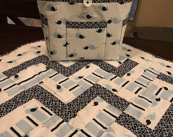 Whale Blue Baby Boy Quilt and Diaper Bag Matching Set