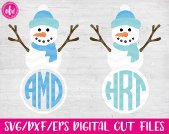Monogram Snowman, SVG, DXF, EPS, Cut File, Winter, Snowflake, Snow, Vinyl, Christmas, Vector, Silhouette, Cricut, Frame, Holiday