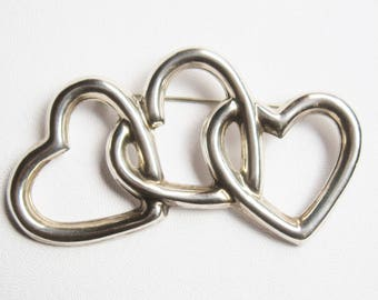 Vintage MEXICO Sterling Silver 925 Triple Interlocking HEART Modernist Brooch Pin 19gr TAXCO Artisan Crafted Abstract Fashion  Jewelry