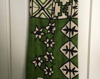 maxi skirt  vintage barkcloth