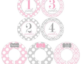 Monthly Stickers and Clothing Dividers Gift Set for Baby Girls in Pink and Gray - BGS003