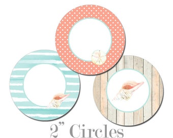 Digital Printable Two Inch Circles with Coastal Seaside Ocean Seashells Shower Cupcake Toppers CCCT009