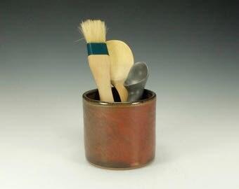 Spoon/ Utensil pottery jar. Medium.  Iron red.  Ready to ship.