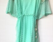 Agha Noor sea green Chiffon net dress, shirt dress, FREE SHIPPING