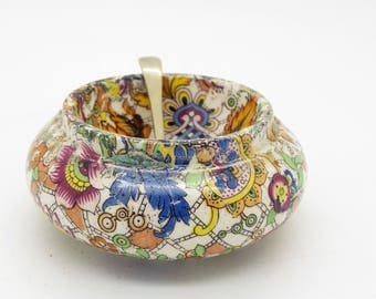 Vintage Art Deco Period Chintz Ware Open Salt Dish & Silver Plated Spoon