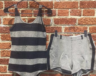 Vintage 1940s Abercrombie & Fitch Swimwear Suit and Shorts // 40s Wool Knit Swimsuit