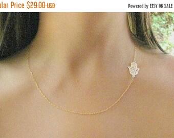 Mothers Day Sale - Gold Hamsa necklace - Hamsa necklace - Gold necklace - Evil eye necklace, Dainty Hamsa necklace - Filigree necklace - Gif