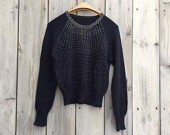 Vintage sweater | Black beaded pullover sweater